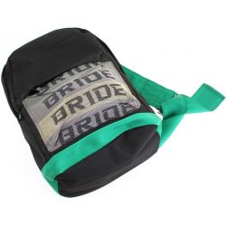 Bride backpack with green Takata straps