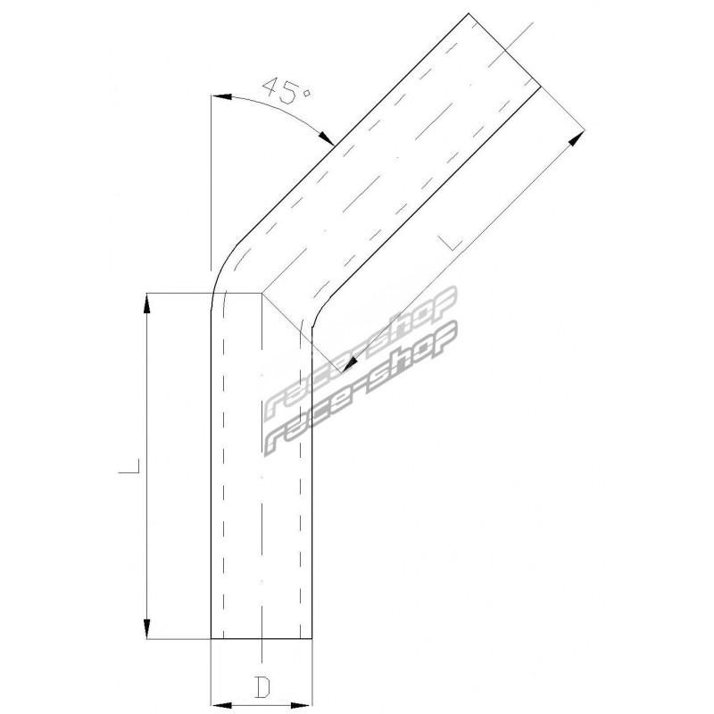 Aluminium pipe - elbow 45°, 80mm (3,15