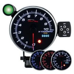 Programmable dual view additional Tachometer DEPO 115mm - Gasoline