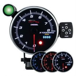 Programmable dual view additional Tachometer DEPO 115mm - Diesel