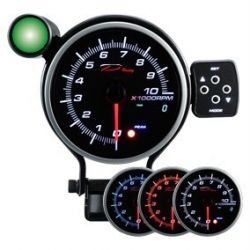 Programmable dual view additional Tachometer DEPO 95mm - Gasoline