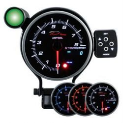 Programmable dual view additional Tachometer DEPO 95mm - Diesel
