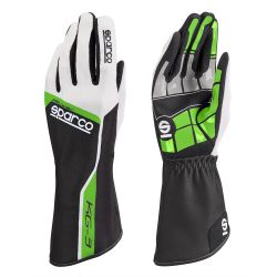 Race gloves Sparco Track KG-3 (inside stitching) green/ white