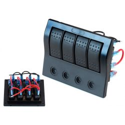 Waterproof panel with 4 Carling Rocker switches (IP68)