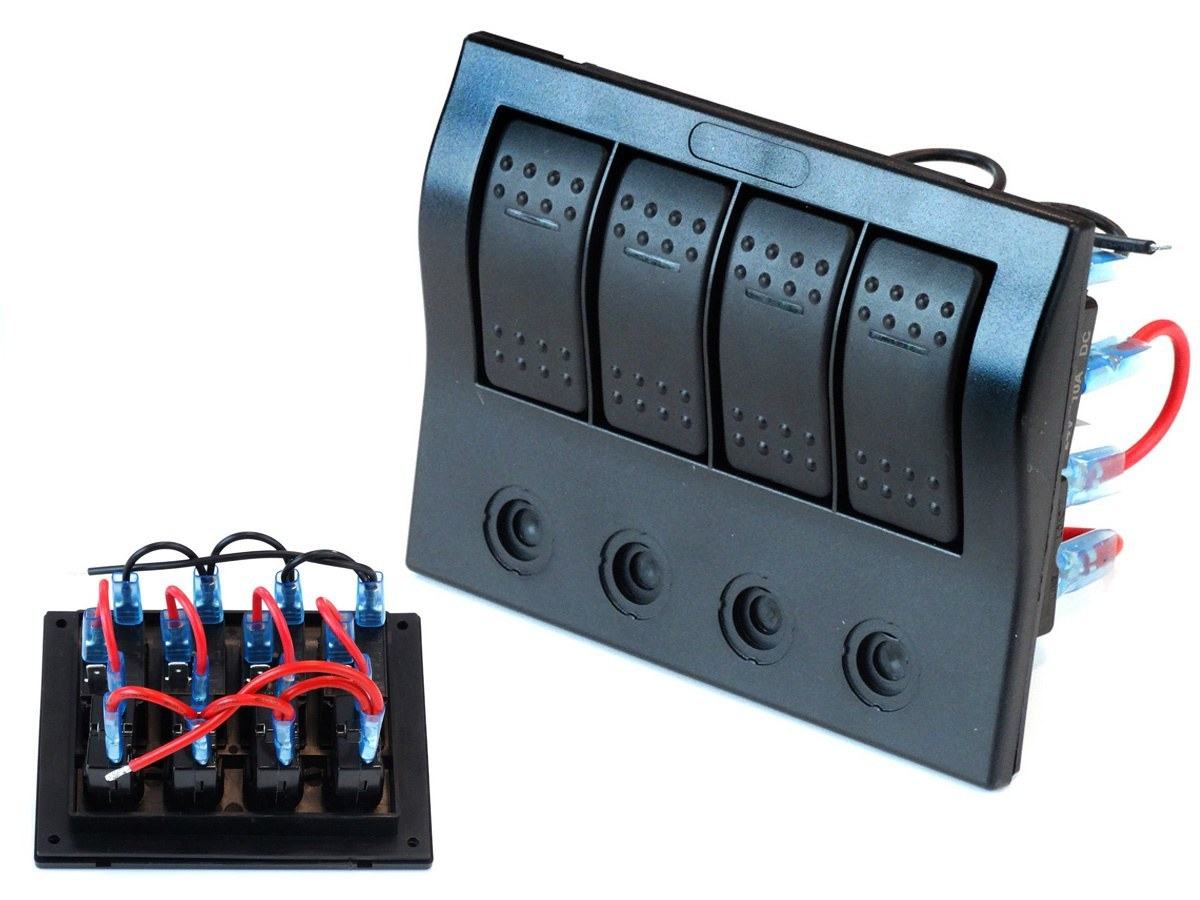Waterproof Panel With 4 Carling Rocker Switches Ip68 2850 Offon Switch Electrical Products