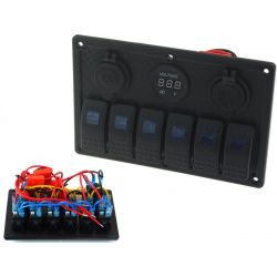 Waterproof panel with 6 Carling Rocker switches (IP68)