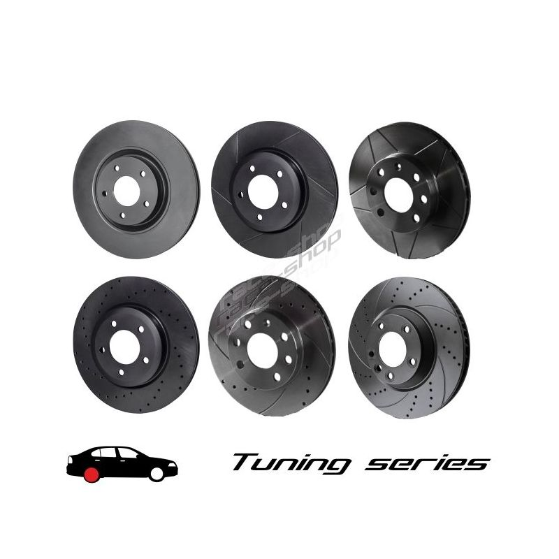 Rear Brake Discs Drilled Grooved Black Edition Alfa Romeo GT Coupe 1.9 JTD 04