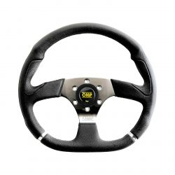 3 spokes steering wheel OMP Cromo, 350mm Polyurethane, Flat
