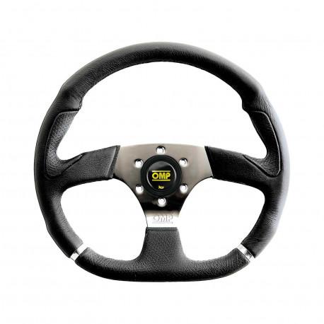 steering wheels 3 spokes steering wheel OMP Cromo, 350mm Polyurethane, Flat   races-shop.com