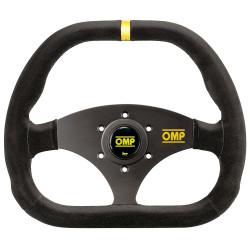 3 spokes steering wheel OMP Kubic, 310x265mm suede, Flat