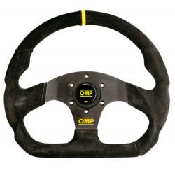 3 spokes steering wheel OMP Super Quadro, 330x290mm suede, Flat