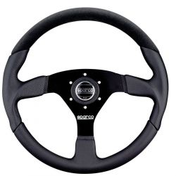 3 spokes steering wheel Sparco L505, 350mm Leather/suede, Flat