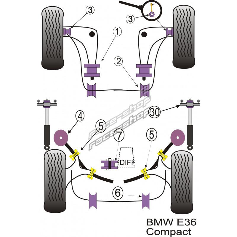 Powerflex Purple Rear Shock Top Mount Bracket And Bush 10mm For Bmw E46