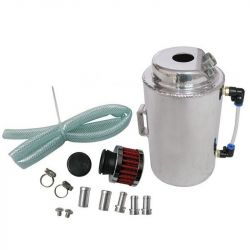 Oil catch tank with 2 outputs and filter - capacity 2l