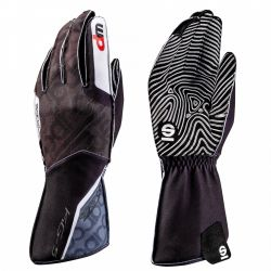 Race gloves Sparco Motion KG-5 WP (external stitching) black/white