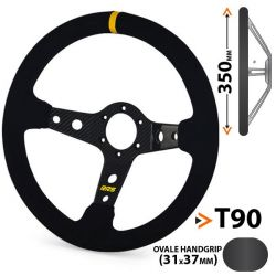 Steering wheel RRS Carbon, 350mm, suede, 90mm deep dish