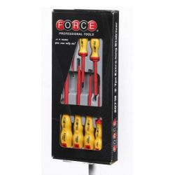 FORCE 8 piece set of insulated screwdrivers + el. tester 110-250V