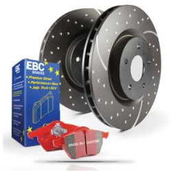 Rear kit EBC PD12KR185 - Discs Turbo Grooved + brake pads Redstuff Ceramic