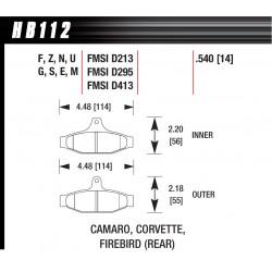 Rear brake pads Hawk HB112S.540, Street performance, min-max 65°C-370°