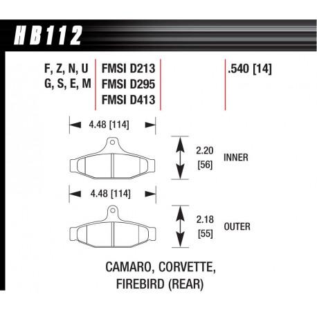 Brake pads HAWK performance Rear brake pads Hawk HB112S.540, Street performance, min-max 65°C-370°   races-shop.com