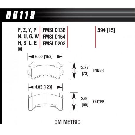 Brake pads HAWK performance Front brake pads Hawk HB119S.594, Street performance, min-max 65°C-370° | races-shop.com
