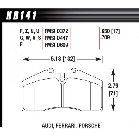 Brake pads HAWK performance Rear brake pads Hawk HB141V.650, Race, min-max 150°C-760°C   races-shop.com