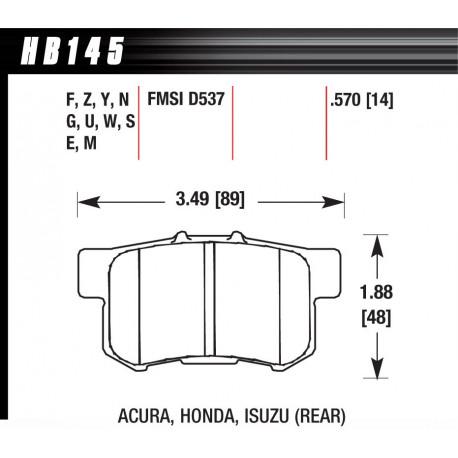 Brake pads HAWK performance Rear brake pads Hawk HB145S.570, Street performance, min-max 65°C-370°   races-shop.com