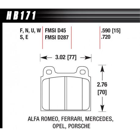 Brake pads HAWK performance Front brake pads Hawk HB171E.590, Race, min-max 37°C-300°C | races-shop.com