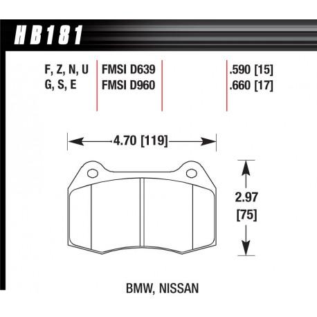 Brake pads HAWK performance Front brake pads Hawk HB181G.660, Race, min-max 90°C-465°C   races-shop.com