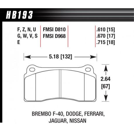 Brake pads HAWK performance Rear brake pads Hawk HB193G.670, Race, min-max 90°C-465°C | races-shop.com