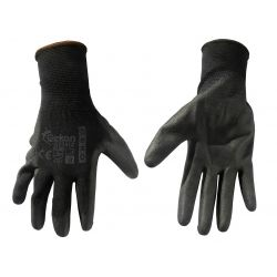 Cotton working gloves with rubber coating - black