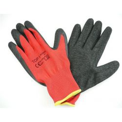 Cotton working gloves with rubber coating - black and red