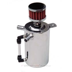 Oil catch tank with 2 outputs and filter - capacity 0,5l