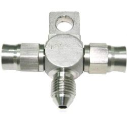 """T"" Brake fitting, stainless steel, AN3 female/male/female"