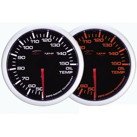 Gauges DEPO white and amber series 60mm DEPO racing gauge Oil temperature - White and Amber series | races-shop.com