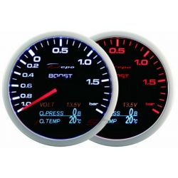 Gauge DEPO 4v1 60mm Black – Tlak turba + Oil pressure + Oil temperature + Voltmeter