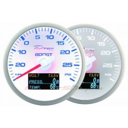 Gauge DEPO 4v1 60mm White – Turbo pressure + Oil pressure + Oil temperature + Voltmeter