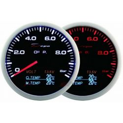 Gauge DEPO 4v1 60mm Black – Oil pressure + Oil temperature + Water temp + Voltmeter