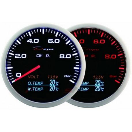 Gauges DEPO 4v1 60mm Gauge DEPO 4v1 60mm Black – Oil pressure + Oil temperature + Water temp + Voltmeter | races-shop.com