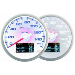 Gauge DEPO 4v1 60mm White – Oil pressure + Oil temperature + Water temp + Voltmeter